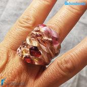Anello Arlecchino Amarena in vetro di Murano fatto a mano