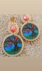 Orecchini soutache orecchini Albero della Vita. Orecchini pendenti orecchini azzurro e arancio. orecchini a lobo