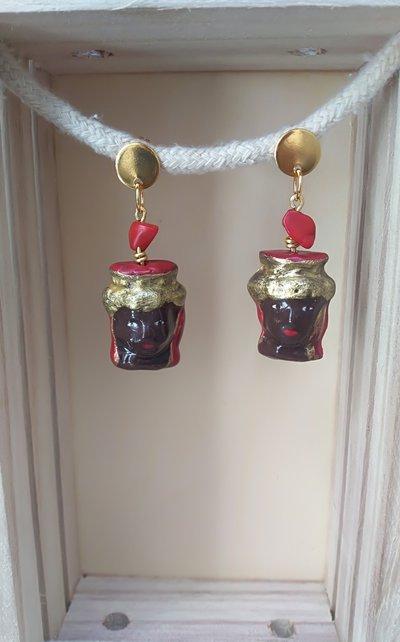 Orecchini Testa di moro Orecchini Siciliani gioielli Siciliani. Orecchini Pendenti stile siciliano Orecchini porcellana fredda, pasta di mais