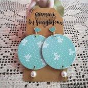 Orecchini tondi di carta verde e bianco Tiffany con perni cuore in ottone
