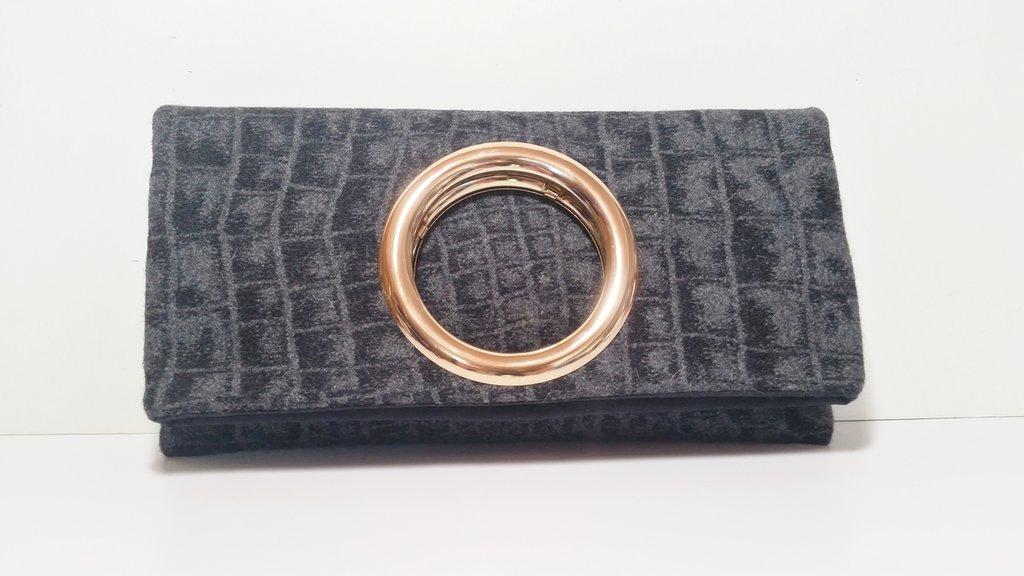Pochette bracciale  borsa lana stampata coccodrillo clutch tessuto pochette a mano anello