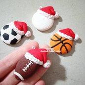 Ciondolo pallone palla calcio rugby pallavolo basket fimo natale