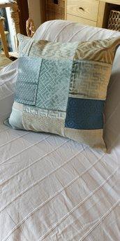 Federa per cuscino broccato azzurro