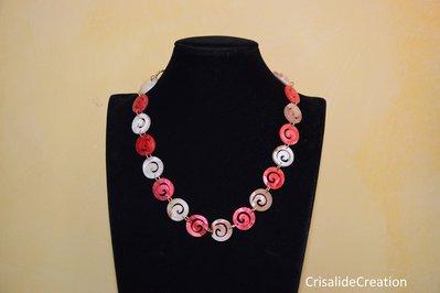 Collana girocollo con aspirale rosa chiaro e aspirale rosa scuro
