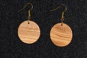 orecchini in legno d'ulivo rotondi (cod. 009)