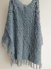 Scialle in lana mohair grigio chiaro