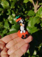 Decorazione per Halloween cane bovaro del bernese nella zucca, miniatura cane bovaro del bernese per regalo per amante dei cani