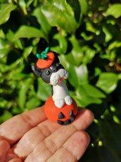 Decorazione per Halloween cane bulldog francese nella zucca, miniatura cane bulldog francese per regalo per amante dei cani, scultura cane