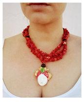 Collana di Corallo con ciondolo in testa di moro. Collana stile siciliano. Collana corallo e pietra lavica. Girocollo pietre dure