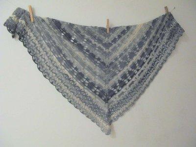 Schema PDF -  Scialle uncinetto grigio sfumato - scialle  triangolare - scialle in lana - baktus