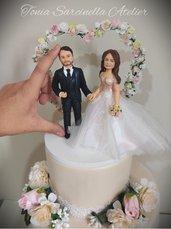 Cake topper sposi mini realistico