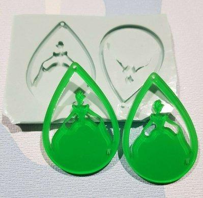 Stampo in gomma per resina, coppia di orecchini a goccia