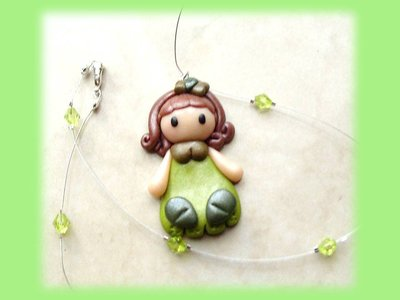 Collana green butterfly doll fimo
