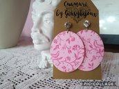 Orecchini rosa ovali in  carta fatti a mano con perno cabochon cristallo trasparente