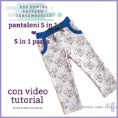 cartamodello pdf pantalone bambina/o unisex TUTORIAL VIDEO