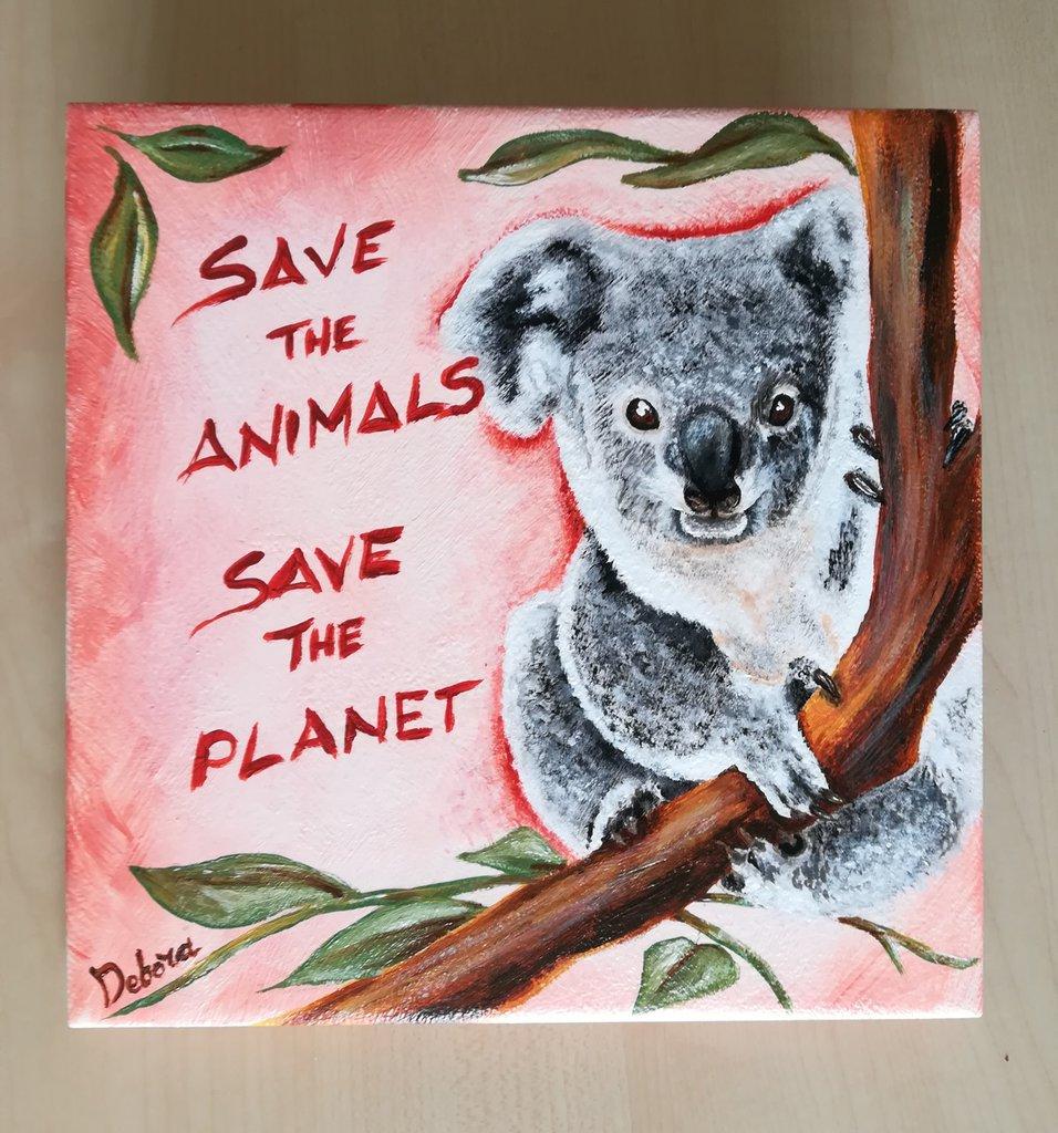 Mattonella Koala dipinta a mano