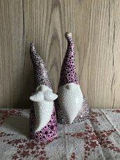 Coppia di gnomo di Natale | ceramica dipinta a mano viola e marrone