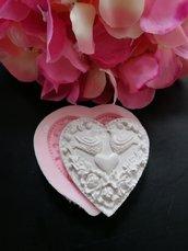 Stampo cuore con colombe in gomma siliconica professionale