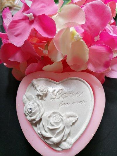 Stampo cuore con con rose e scritta LOVE FOR EVER in gomma siliconica professionale