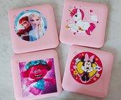 Scatolina plastica porta mascherina Mascherine Frozen Unicorno Cartoni animati