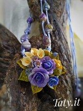 Collana scorrevole composizione floreale lilla