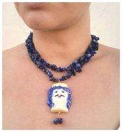 Collana stile siciliano collana siciliana. collana con pietre lapislazzuli, collana testa di moro pietre blu lapislazzuli. Girocollo lapislazzuli
