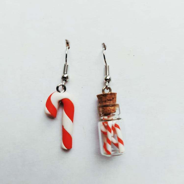Orecchini natalizi fimo Bastoncini di Zucchero Candycane