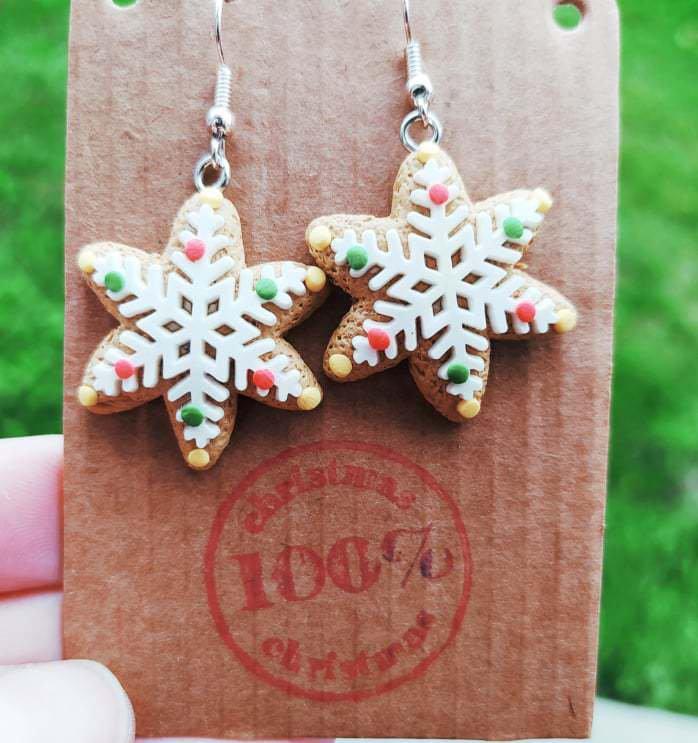 Orecchini natalizi fimo Biscotti Fiocco di Neve