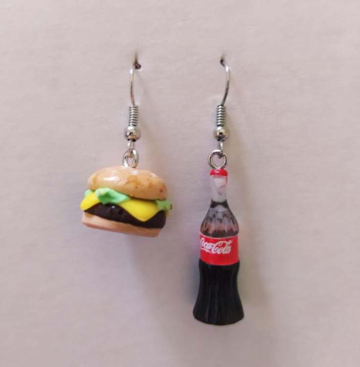 Orecchini Fimo Panino Hamburger e Bottiglia di Coca Cola