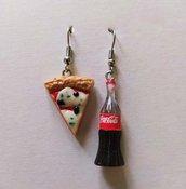 Orecchini Fimo Pizza e Bottiglia di Coca Cola