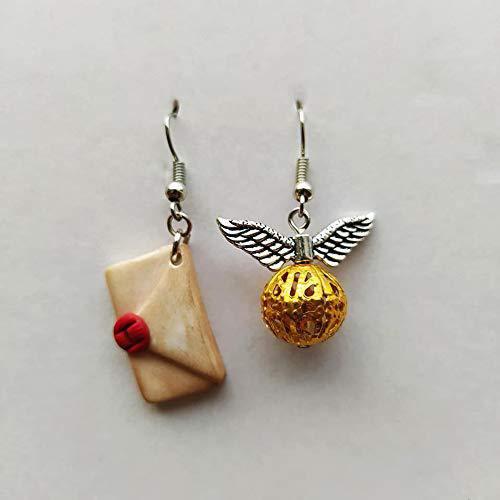 Orecchini Harry Potter Boccino d'Oro Lettera Hogwarts