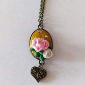 Collana Cammeo Bouquet di Rose con cuore