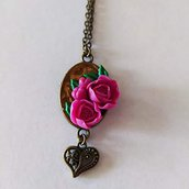 Collana Cammeo Bouquet di Rose Magenta