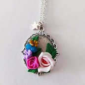 Collana Cammeo Bouquet di Rose e Fiori Colorati
