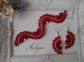 Completo bracciale  e orecchini pizzo chiacchierino idea regalo donna ragazza handmade