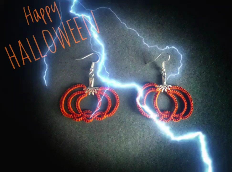 Orecchini zucca Halloween al chiacchierino, arancioni, picciolo in metallo. Spiritosi ma al contempo eleganti