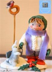 """Bambola """"Giochi sulla neve"""" in porcellana fredda"""