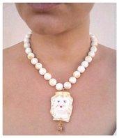 Collana di giada bianca con ciondolo testa di moro. Collana in pietre naturali. Collana giada stile siciliano, girocollo pietre dure, giada
