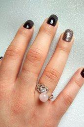 Anello donna regolabile piuma argento o oro con zirconi brillanti e pietre dure colorate a scelta fatti a mano
