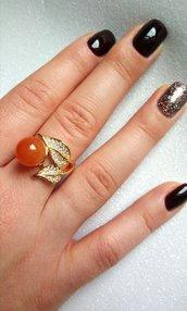 Anello donna regolabile foglia oro o argento con zirconi brillanti e pietre dure colorate a scelta fatti a mano