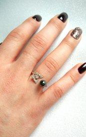 Anello donna regolabile farfalla argento o oro rosa con zirconi brillanti e pietre dure colorate a scelta fatti a mano