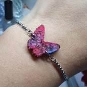 Braccialettino regolabile in acciaio inox con charm farfalla in resina