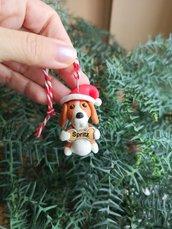 Decorazione natalizia personalizzata con cane beagle con il nome sull'osso, addobbi per albero di natale con cane beagle