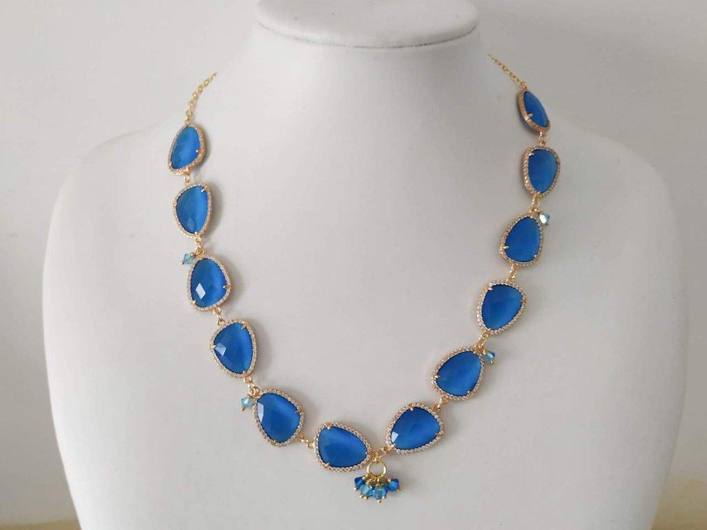 Collana con cristalli blu e pendente Swarovski, catena placcata oro, gioielli donna