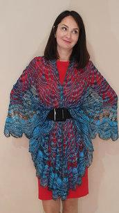 mantellina lana, scialle lanuginoso, scialle argento, mantella lana, caldo, elegante mantellina di lana capra, mantellina uncinetto, mantello, scialle, scialle caldo, scialle uncinetto, scialle fatto a mano