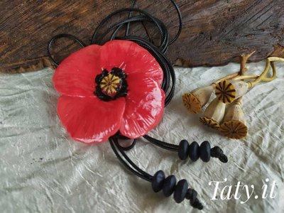 Collana scorrevole con papavero rosso, lunga o a collarino