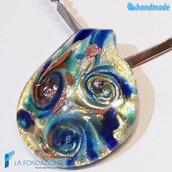 Collana Conchiglia Tre Vortici Argento Rodiata in vetro di Murano fatta a mano