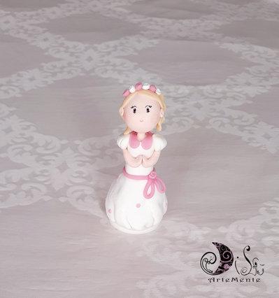 Cake topper statuina bimba bambolina comunione personalizzabile