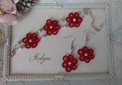 Completo bracciale e orecchini pizzo rosso chiacchierino idea regalo donna ragazza handmade