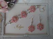 Completo bracciale e orecchini pizzo rosa antico chiacchierino idea regalo donna ragazza